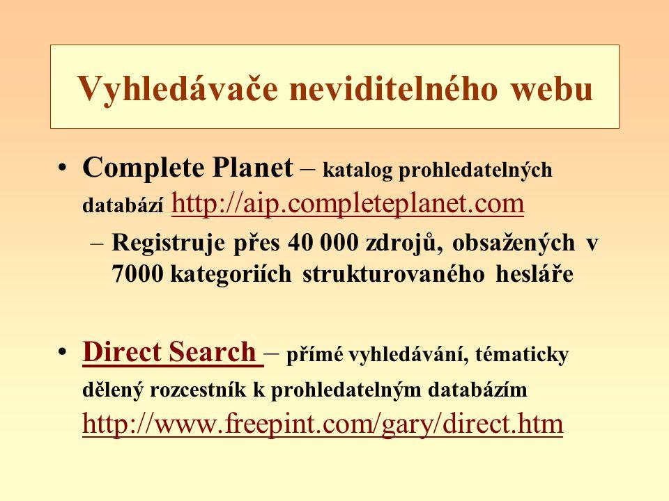 Vyhledávače neviditelného webu