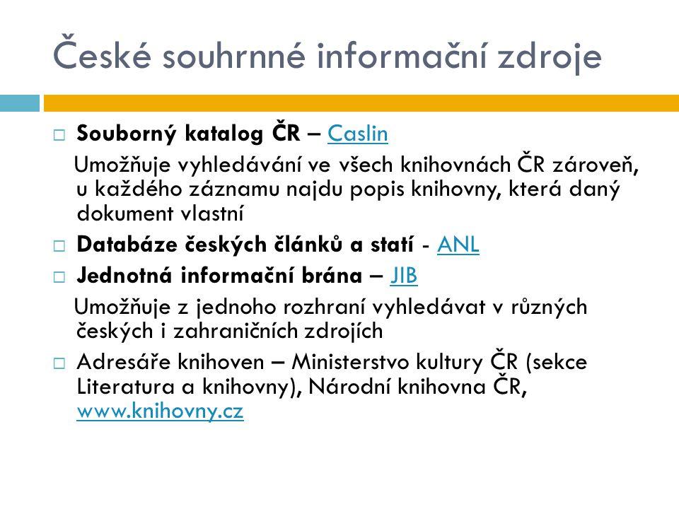 České souhrnné informační zdroje