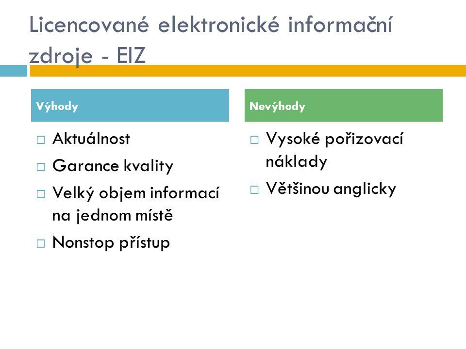 Licencované elektronické informační zdroje - EIZ