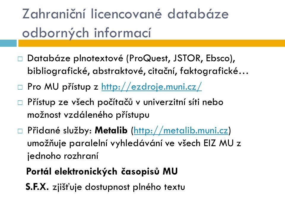 Zahraniční licencované databáze odborných informací