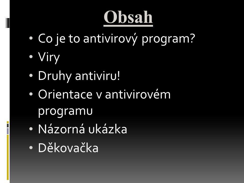 Obsah Co je to antivirový program Viry Druhy antiviru!