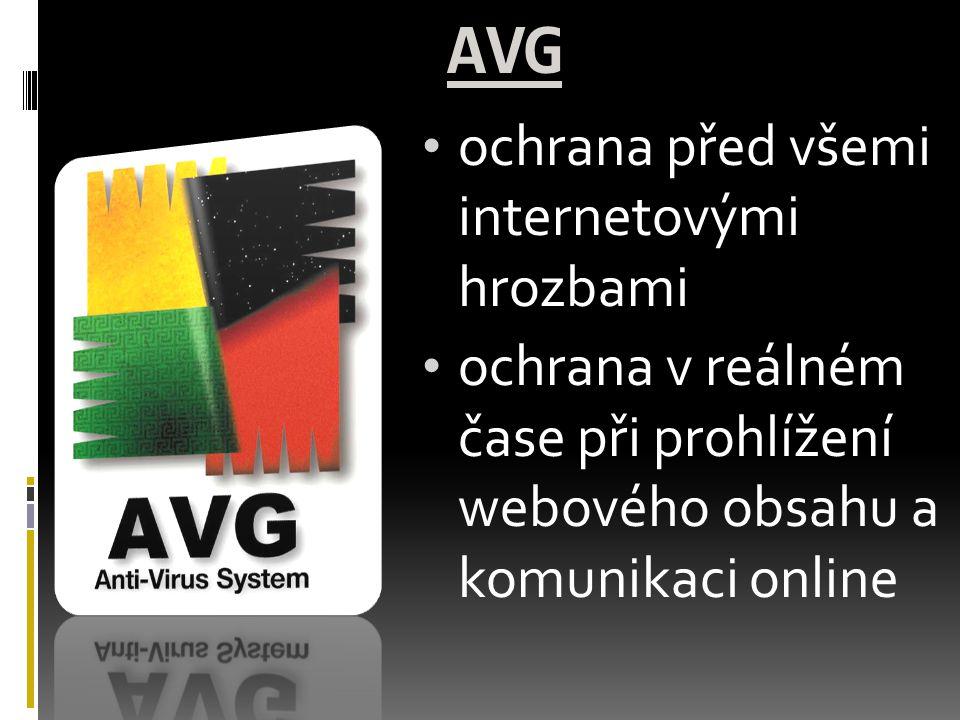 AVG ochrana před všemi internetovými hrozbami