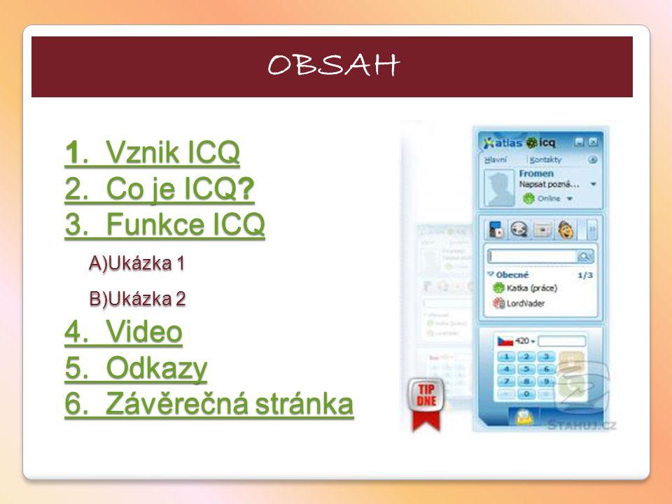 OBSAH 1. Vznik ICQ 2. Co je ICQ. 3. Funkce ICQ A)Ukázka 1 B)Ukázka 2 4.