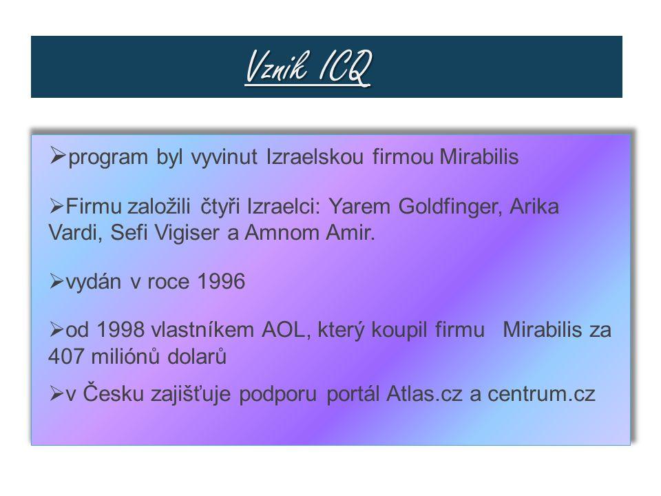 Vznik ICQ program byl vyvinut Izraelskou firmou Mirabilis