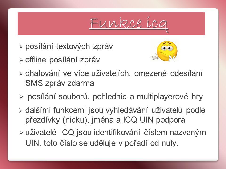 Funkce icq posílání textových zpráv offline posílání zpráv