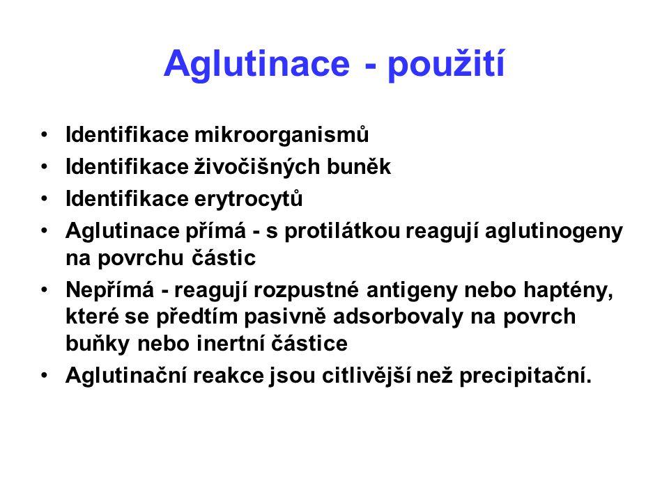 Aglutinace - použití Identifikace mikroorganismů