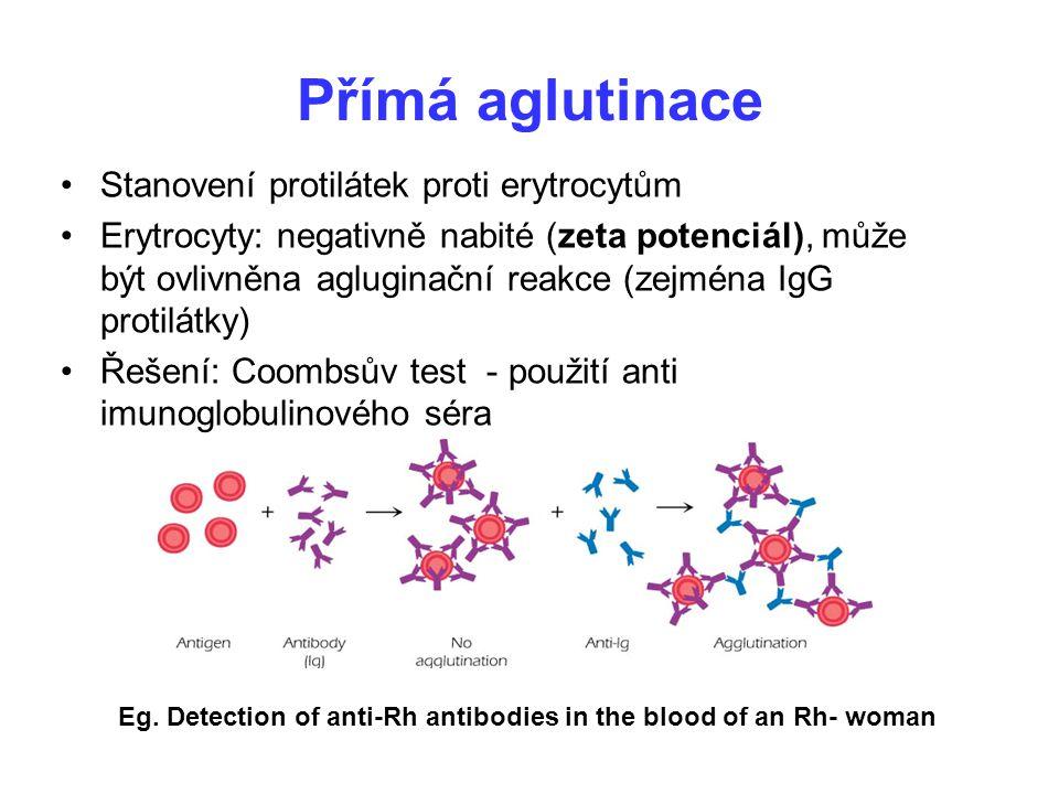 Přímá aglutinace Stanovení protilátek proti erytrocytům