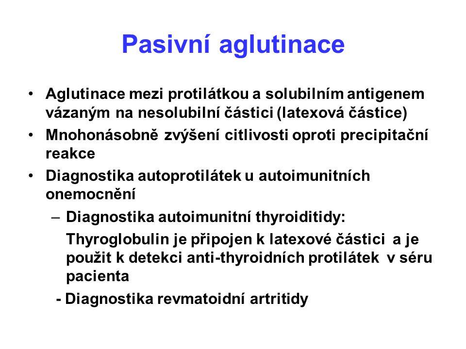 Pasivní aglutinace Aglutinace mezi protilátkou a solubilním antigenem vázaným na nesolubilní částici (latexová částice)