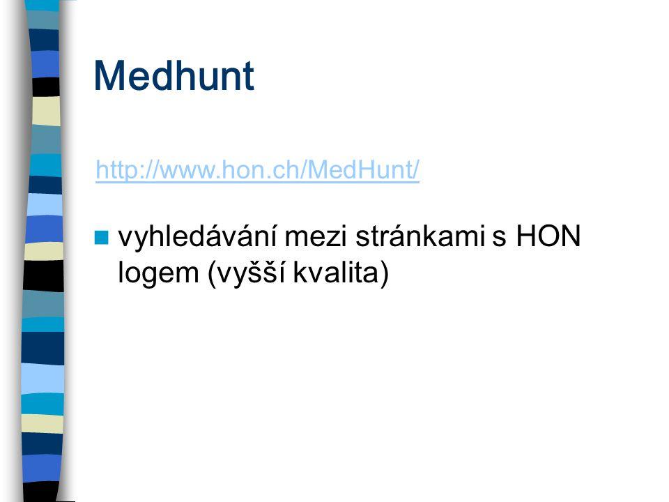 Medhunt vyhledávání mezi stránkami s HON logem (vyšší kvalita)