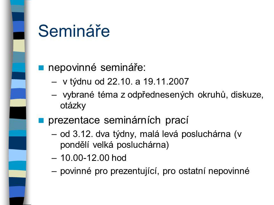 Semináře nepovinné semináře: prezentace seminárních prací