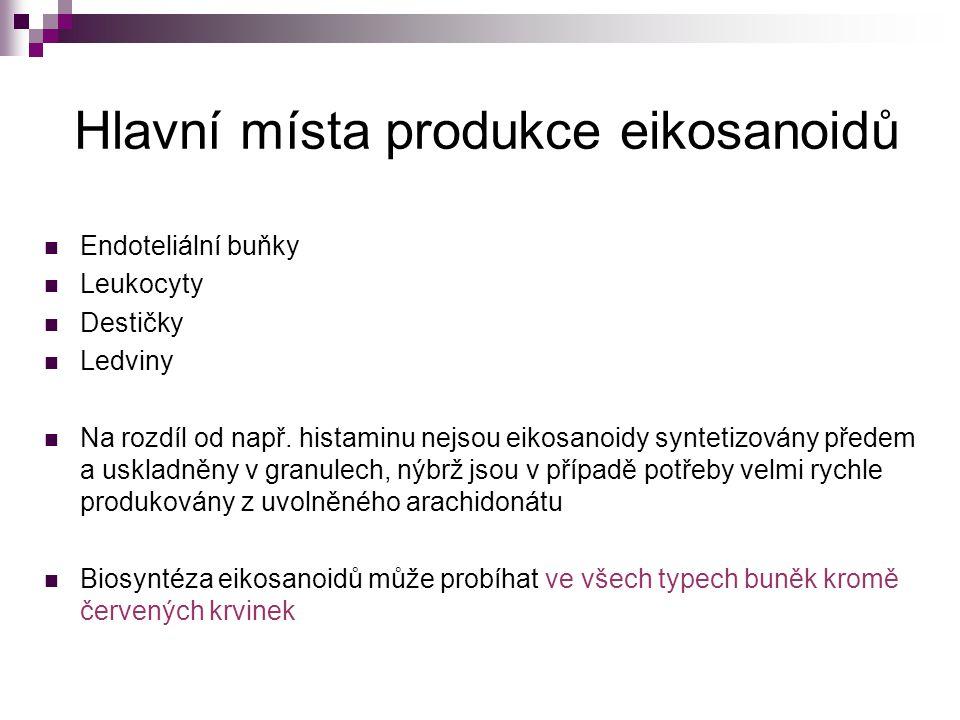 Hlavní místa produkce eikosanoidů
