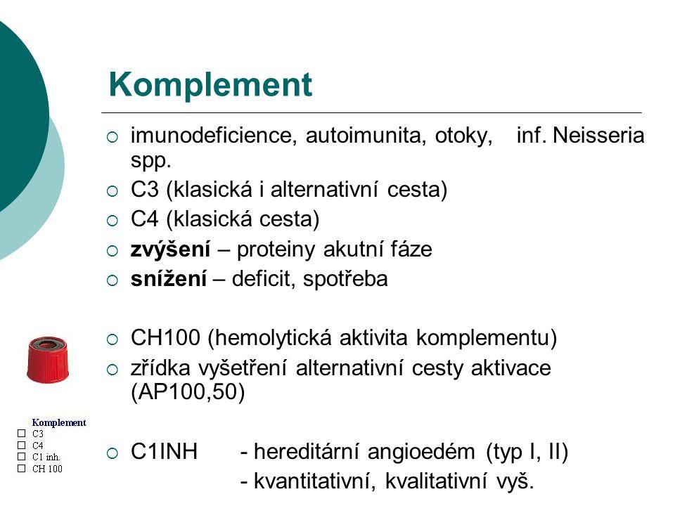 Komplement imunodeficience, autoimunita, otoky, inf. Neisseria spp.