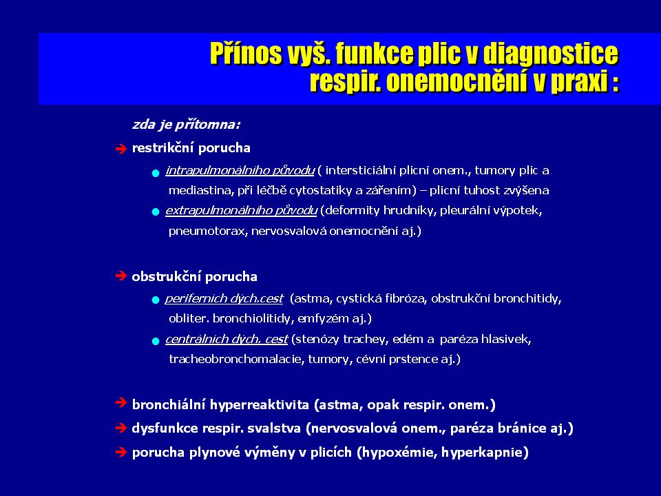 Přínos vyš. funkce plic v diagnostice