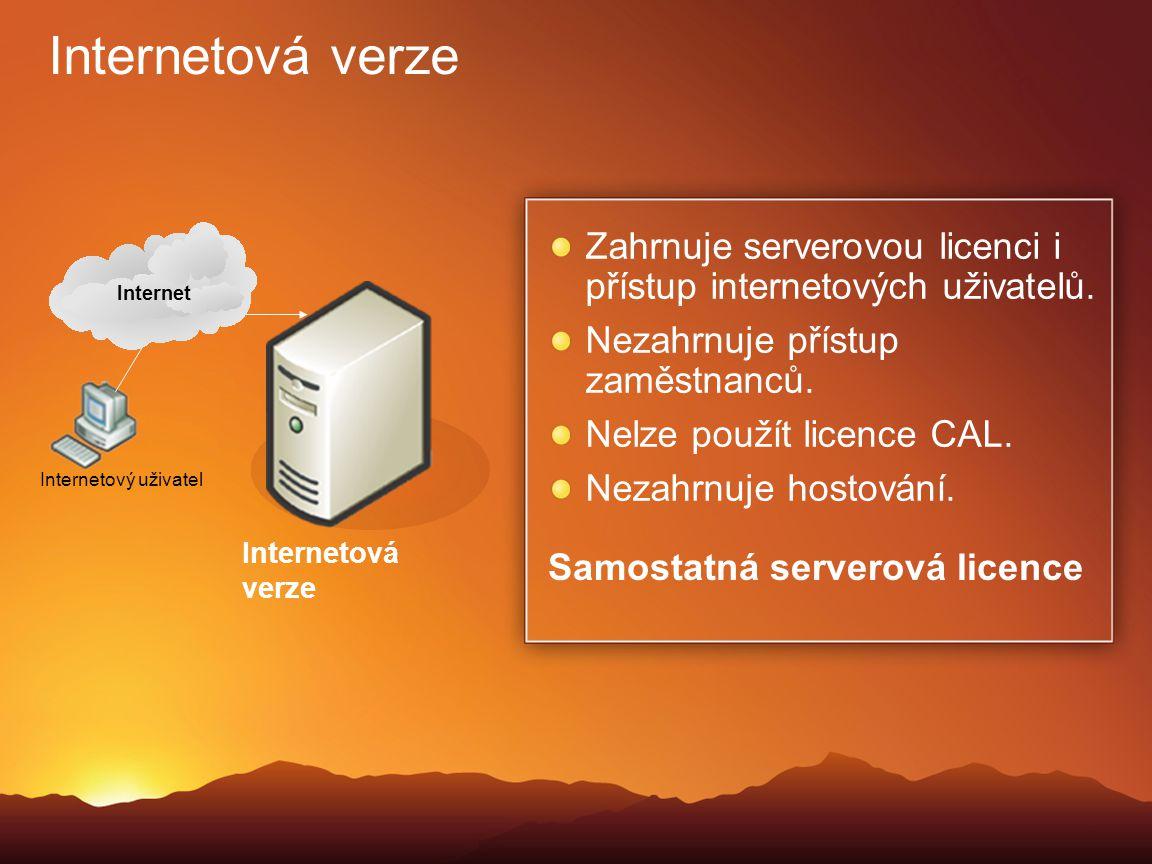 Internetová verze Internet. Zahrnuje serverovou licenci i přístup internetových uživatelů. Nezahrnuje přístup zaměstnanců.