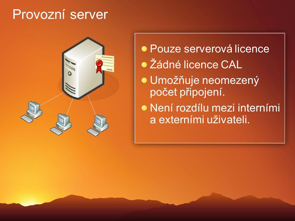 Provozní server Pouze serverová licence Žádné licence CAL