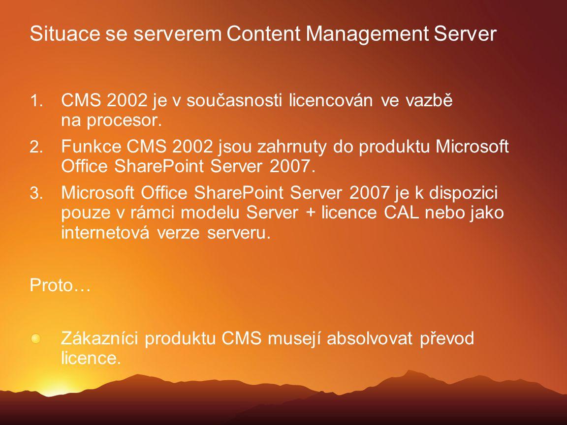 Situace se serverem Content Management Server
