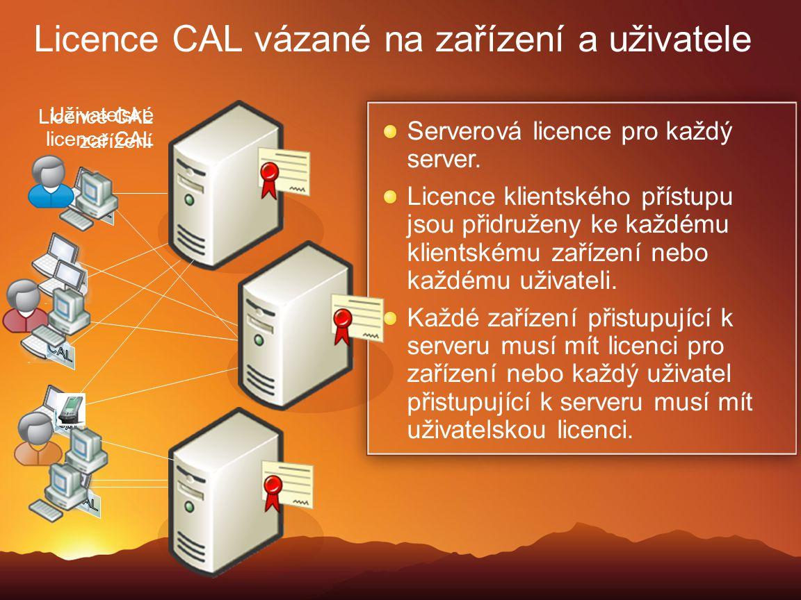 Licence CAL vázané na zařízení a uživatele