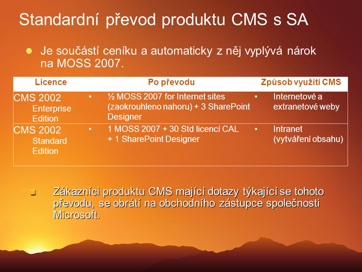 Standardní převod produktu CMS s SA