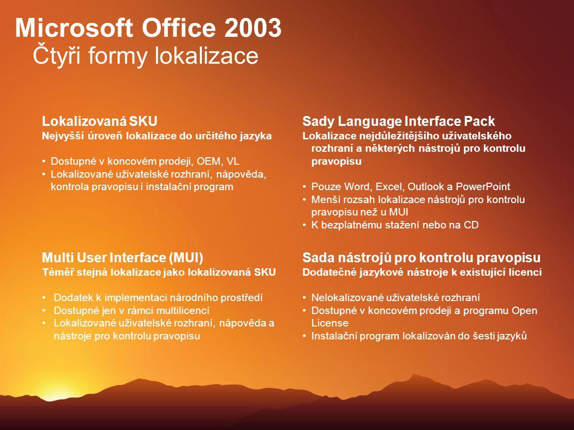 Microsoft Office 2003 Čtyři formy lokalizace