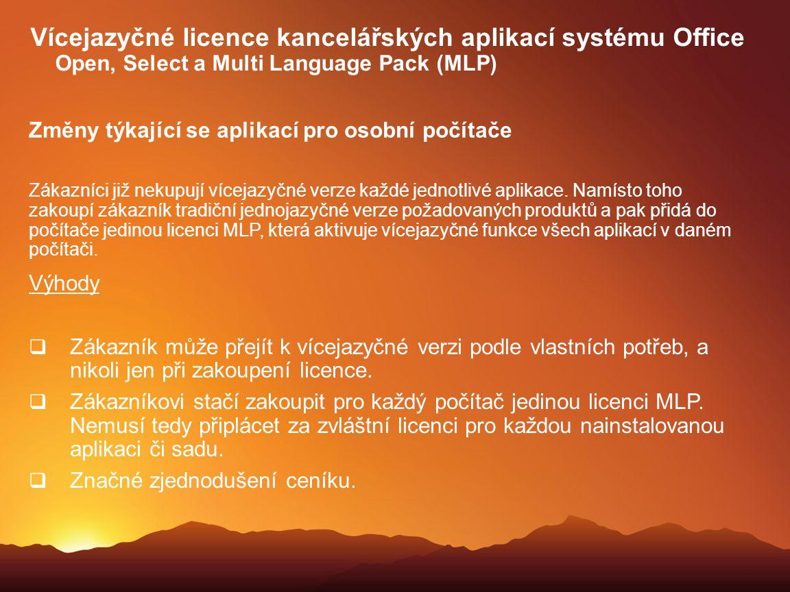 Vícejazyčné licence kancelářských aplikací systému Office Open, Select a Multi Language Pack (MLP)