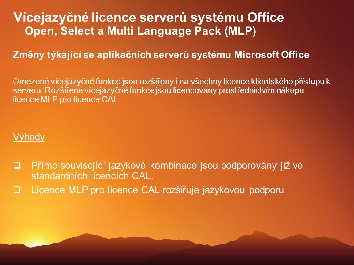 Vícejazyčné licence serverů systému Office Open, Select a Multi Language Pack (MLP)