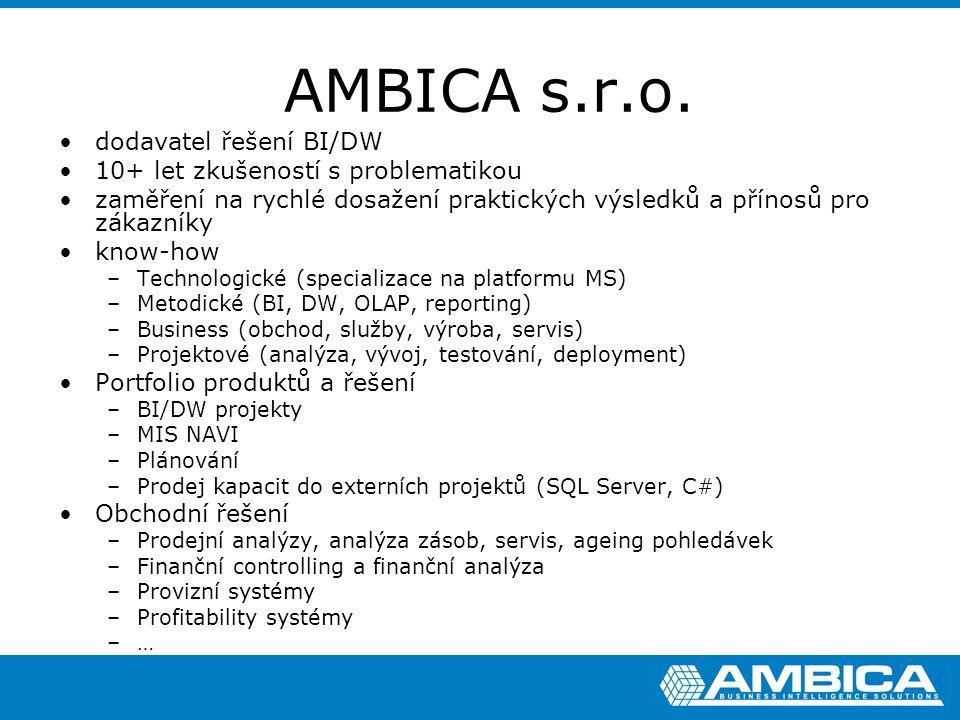 AMBICA s.r.o. dodavatel řešení BI/DW