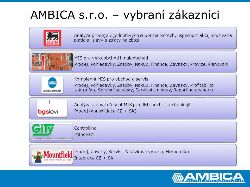 AMBICA s.r.o. – vybraní zákazníci