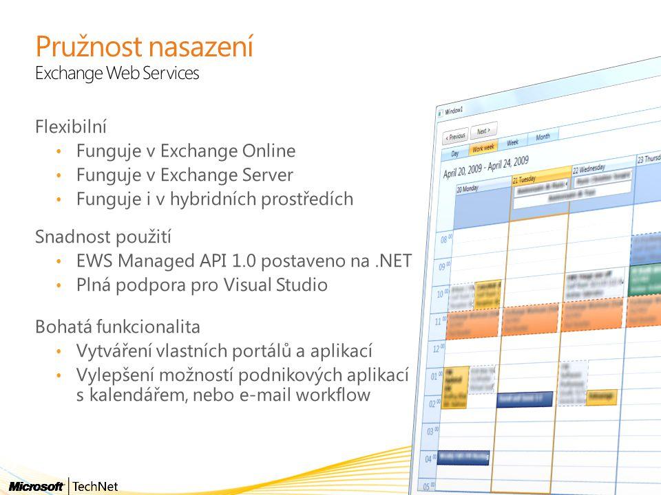 Pružnost nasazení Exchange Web Services