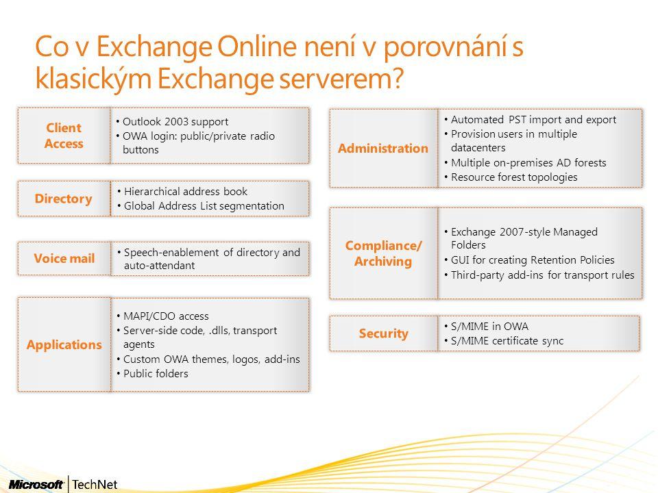 Co v Exchange Online není v porovnání s klasickým Exchange serverem