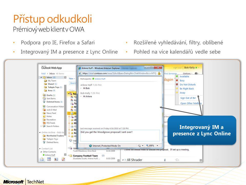 Přístup odkudkoli Prémiový web klient v OWA