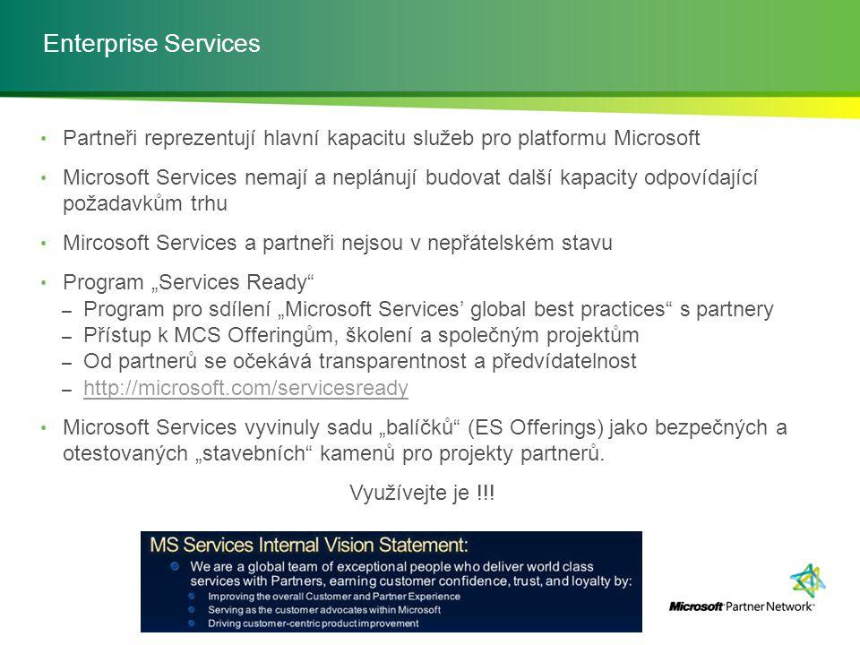Enterprise Services Partneři reprezentují hlavní kapacitu služeb pro platformu Microsoft.