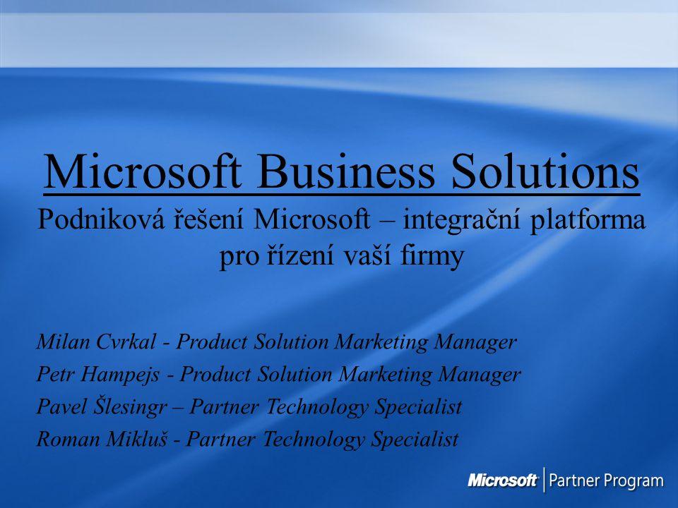 Microsoft Business Solutions Podniková řešení Microsoft – integrační platforma pro řízení vaší firmy