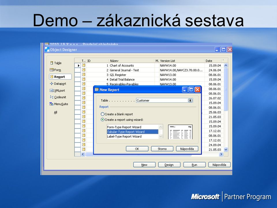 Demo – zákaznická sestava