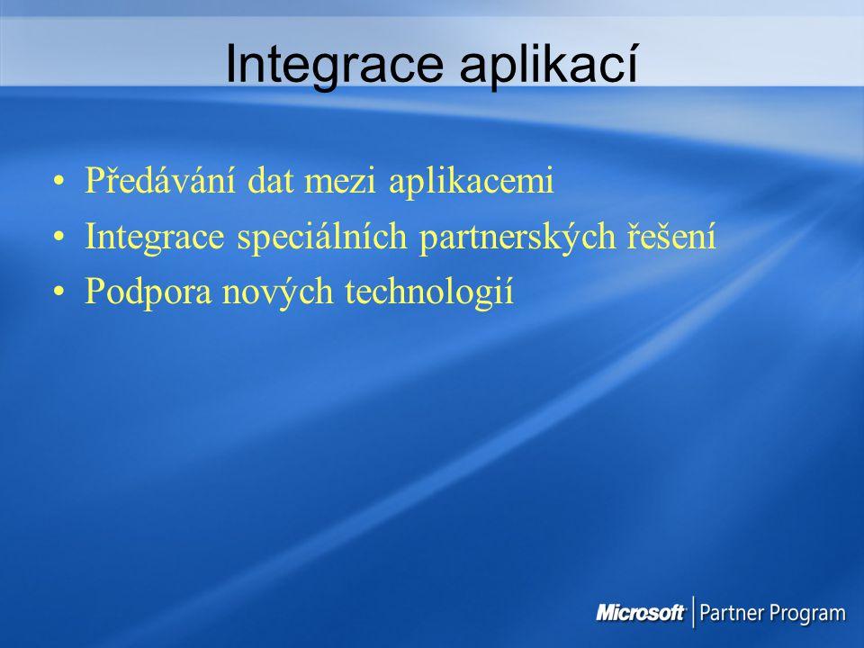 Integrace aplikací Předávání dat mezi aplikacemi
