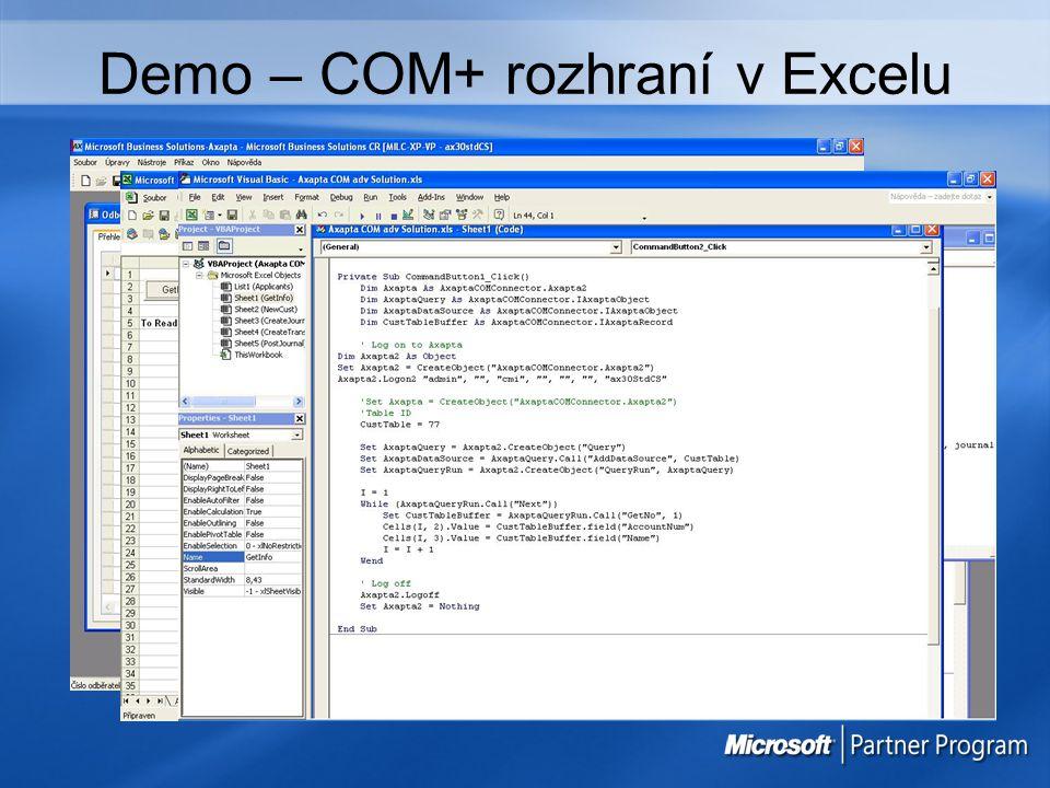 Demo – COM+ rozhraní v Excelu
