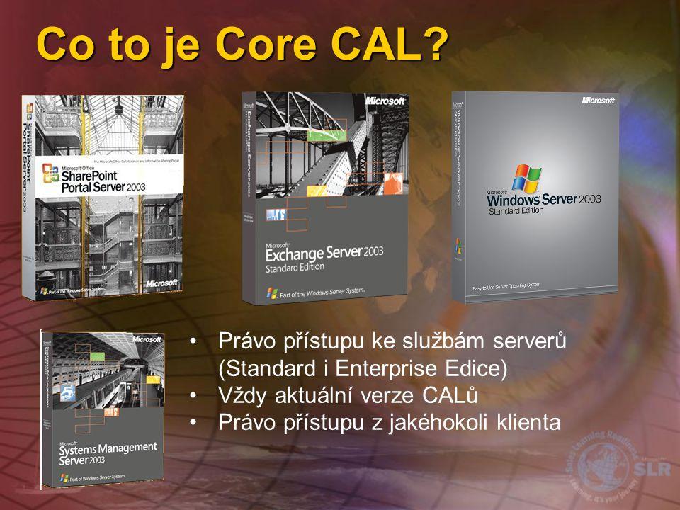 Co to je Core CAL Právo přístupu ke službám serverů (Standard i Enterprise Edice) Vždy aktuální verze CALů.