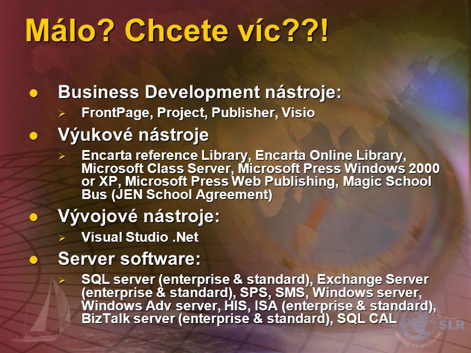Málo Chcete víc ! Business Development nástroje: Výukové nástroje