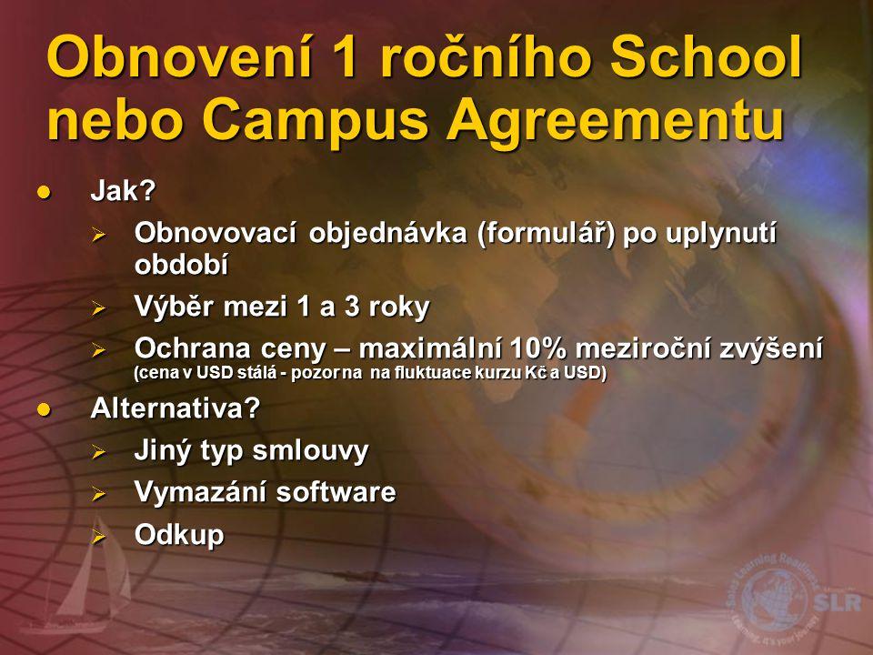 Obnovení 1 ročního School nebo Campus Agreementu