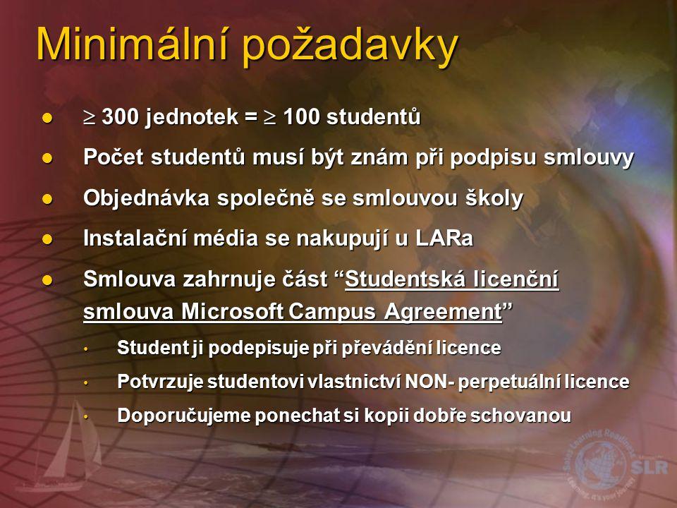 Minimální požadavky  300 jednotek =  100 studentů