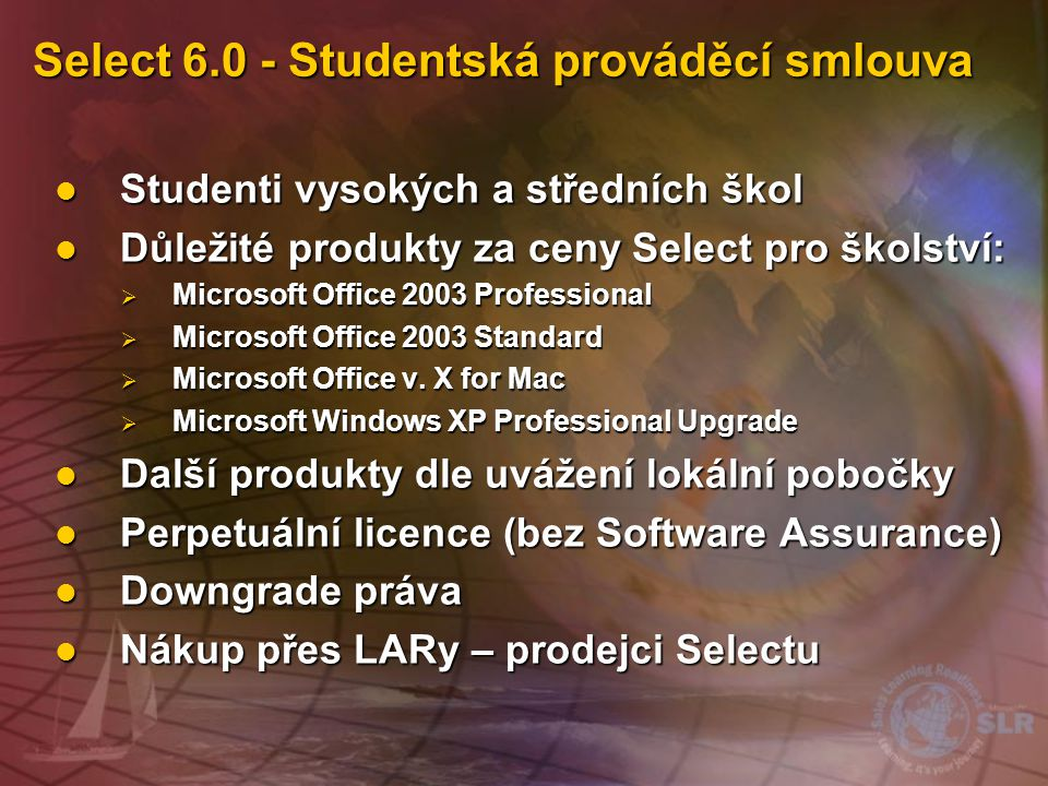 Select 6.0 - Studentská prováděcí smlouva