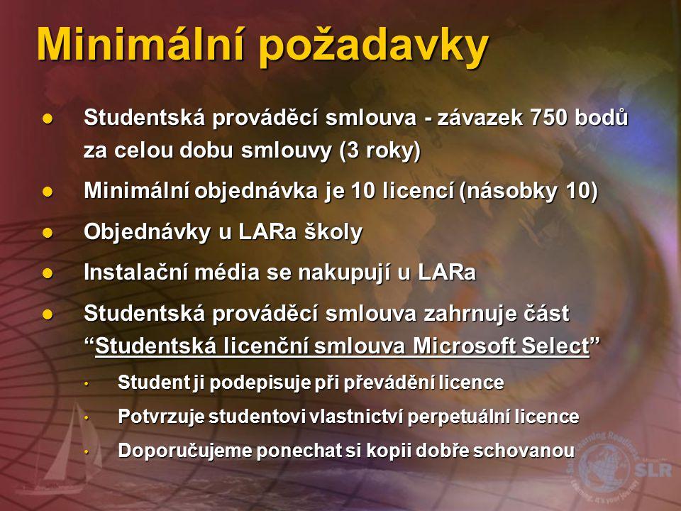 Minimální požadavky Studentská prováděcí smlouva - závazek 750 bodů za celou dobu smlouvy (3 roky) Minimální objednávka je 10 licencí (násobky 10)