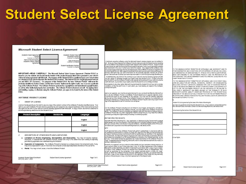 Student Select License Agreement