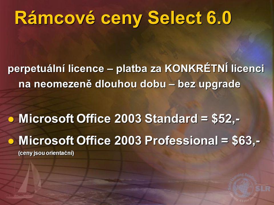 Rámcové ceny Select 6.0 Microsoft Office 2003 Standard = $52,-