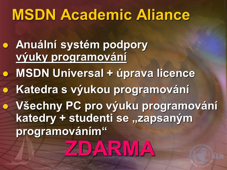 MSDN Academic Aliance Anuální systém podpory výuky programování