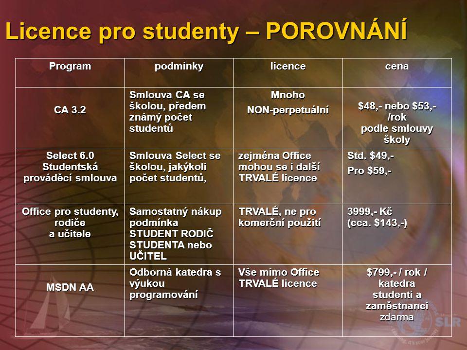 Licence pro studenty – POROVNÁNÍ