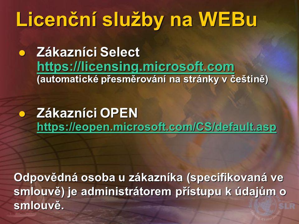 Licenční služby na WEBu