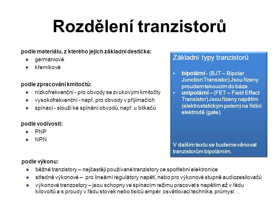 Rozdělení tranzistorů