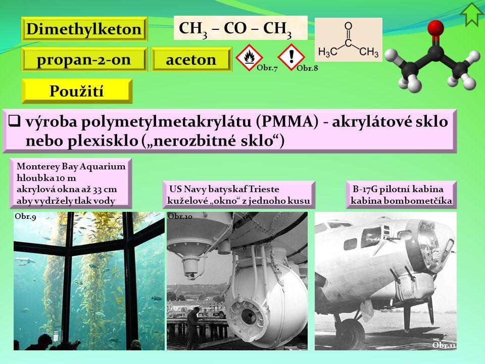 Dimethylketon propan-2-on aceton Použití