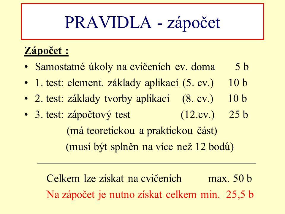 PRAVIDLA - zápočet Zápočet :