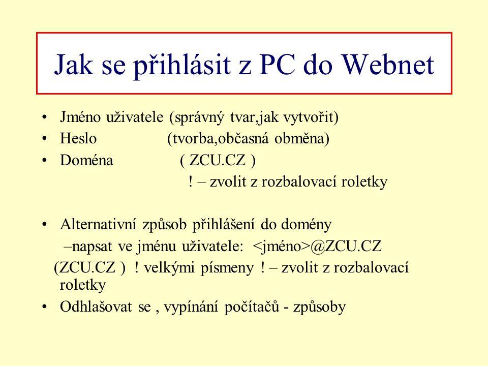 Jak se přihlásit z PC do Webnet